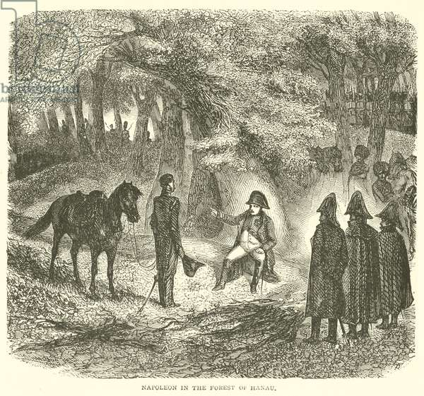 Napoleon in the forest of Hanau (engraving)