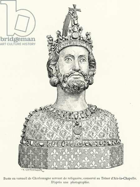 Buste en vermeil de Charlemagne servant de reliquaire, conserve au Tresor d'Aix-la-Chapelle (engraving)
