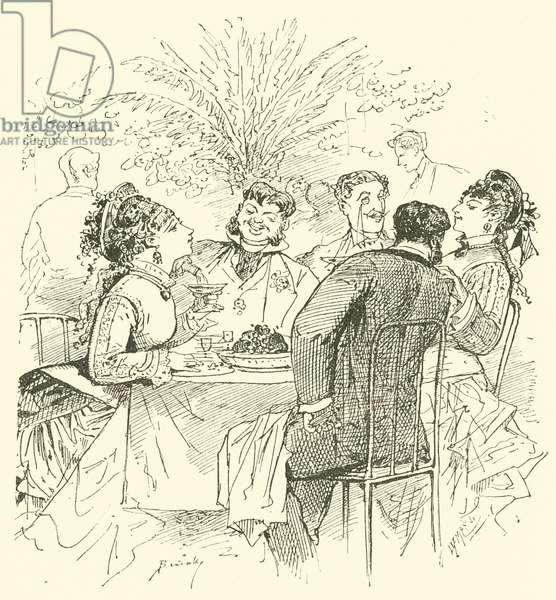 19th century cafe scene (engraving)
