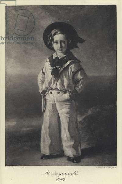 King Edward VII as a child, aged six, 1847 (litho)