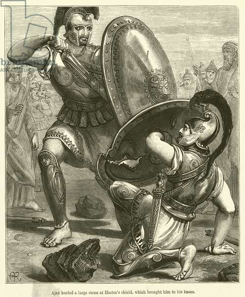 Ajax hurled a large stone at Hector's shield, which brought him to his knees (engraving)