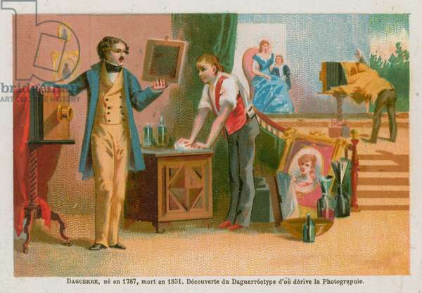 Louis Daguerre, 19th Century French pioneer of photography (chromolitho)