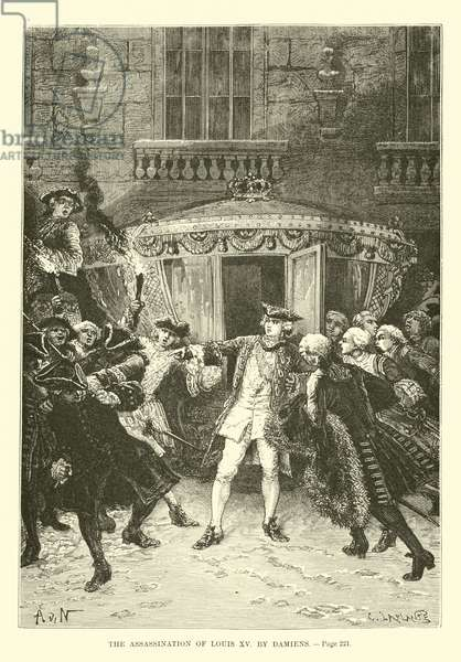 The assassination of Louis XV by Damiens (engraving)