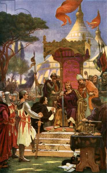 King John signs Magna Carta, 15 June 1215 (colour litho)