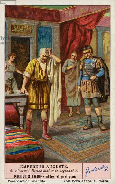 The Roman Emperor Augustus lamenting the loss of Publius Quinctilius Varus' three legions at the Battle of the Teutoburg Forest, Germany, 9 (colour litho)