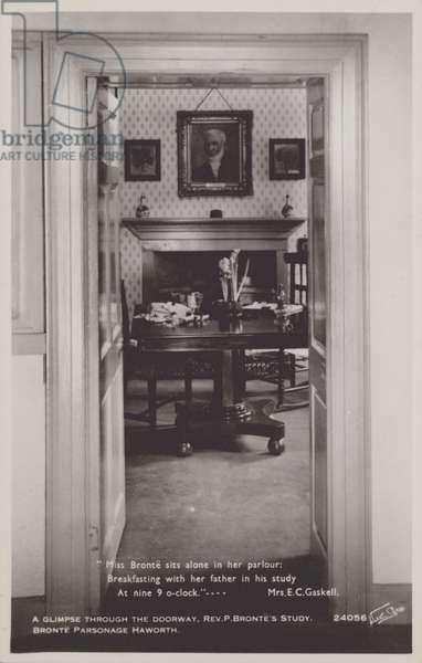 Rev. P. Bronte's study (b/w photo)
