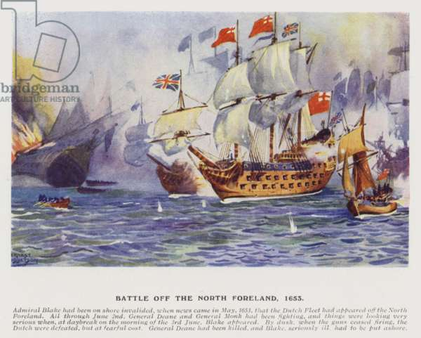 Battle of the North Foreland, 1653 (colour litho)