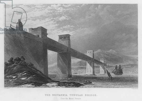 The Britannia Tubular Bridge, over the Menai Straits (engraving)