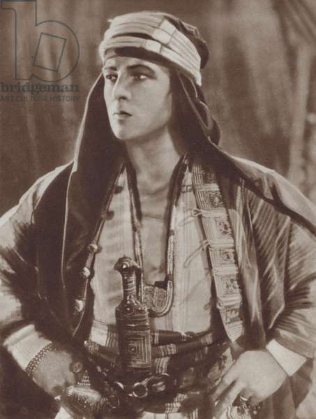 American actor and film star Rudolph Valentino in The Sheik (1921) (b/w photo)