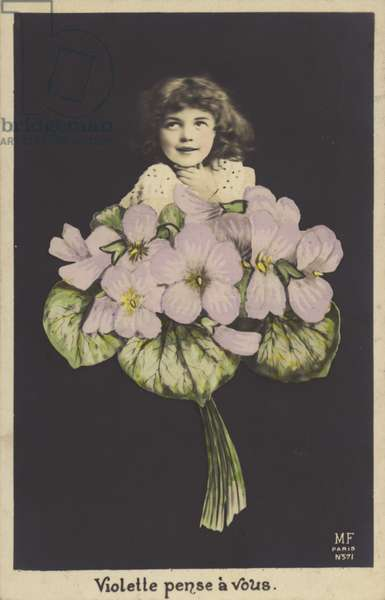 Little girl in a posy of violets (colour photo)