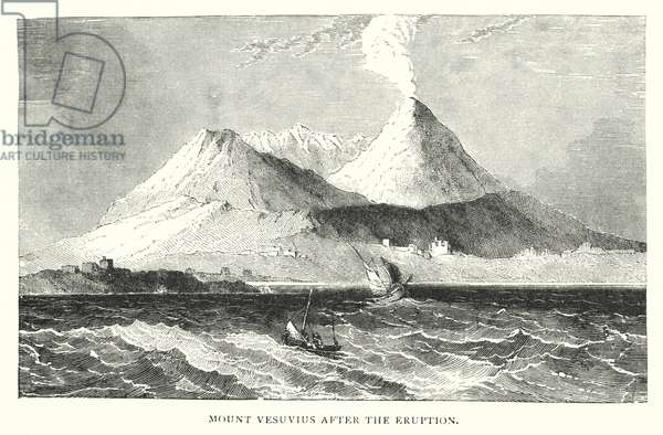Mount Vesuvius after the eruption (engraving)