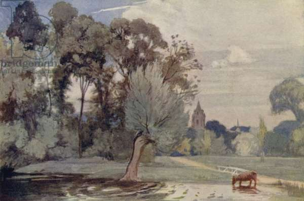 Cambridge: View from Newnham Mill (colour litho)