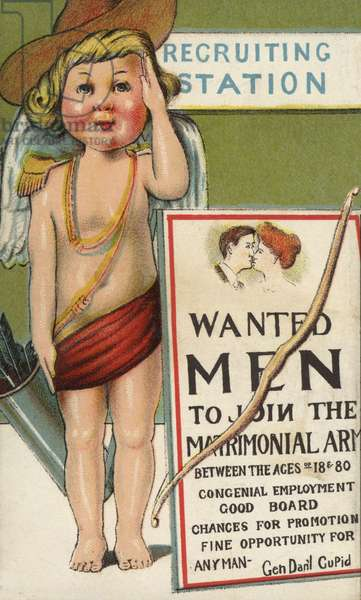 Cupid as an army recruiter (colour litho)