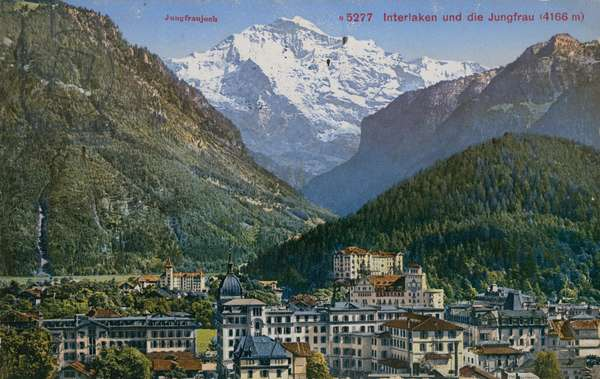 Jungfraujoch - Interlaken and Jungfrau in Switzerland.  Postcard sent in 1913.