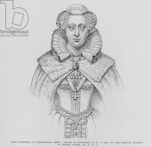 Portrait of Mary Queen Of Scots, from monument in Westminster Abbey (litho)