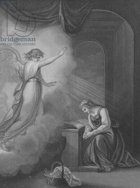 The Annunciation, Luke 1, Verse 26-34 (engraving)