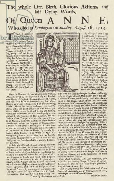 Broadside published on the death of Queen Anne (litho)