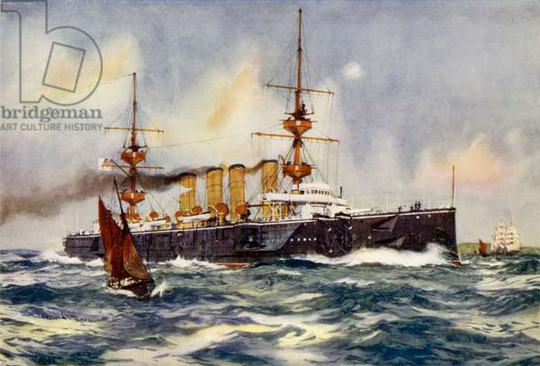 "HMS ""Powerful"" Steaming up Channel on Her Return from South Africa (colour litho)"