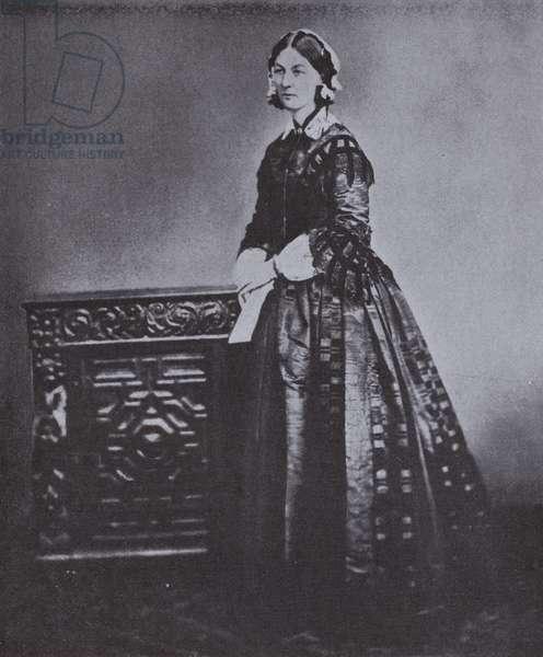 Florence Nightingale, British nursing pioneer, 1855 (b/w photo)