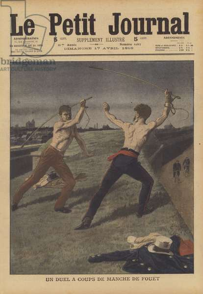 Two cab drivers fighting a duel with their horsewhips (colour litho)