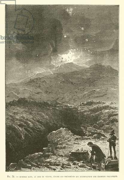 Humphry Davy, Au Pied Du Vesuve, Etudie Les Phenomenes Qui Accompagnent Une Eruption Volcanique (engraving)