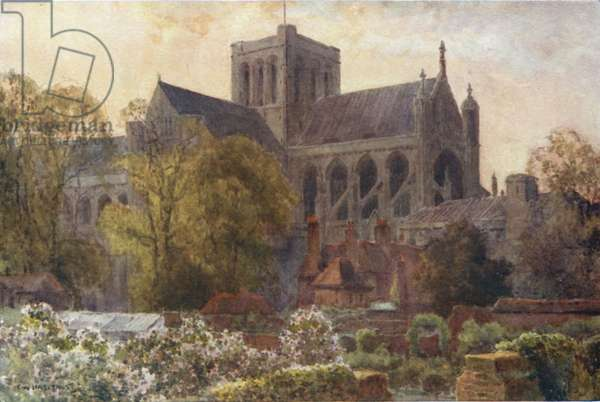 Winchester Cathedral from the Deanery Gardens (colour litho)