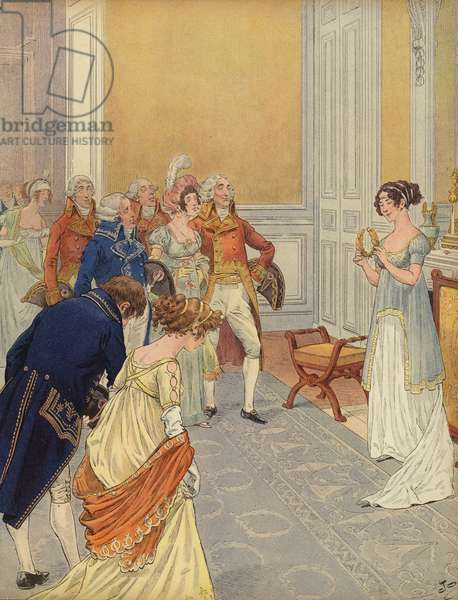 Josephine welcoming guests to the Tuileries Palace (colour litho)
