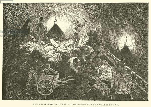 The Excavation of Deutz and Geldermann's New Cellars at Ay (engraving)