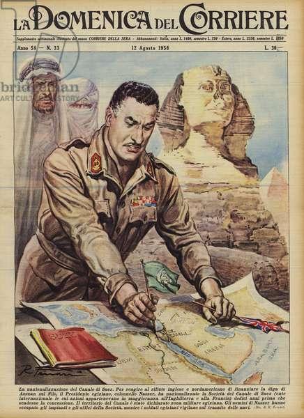 La nazionalizzazione del Canale di Suez (colour litho)