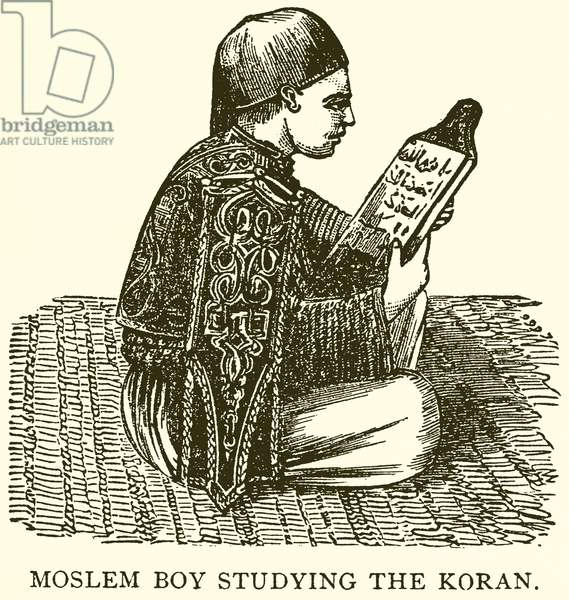 Muslem Boy studying the Koran (engraving)