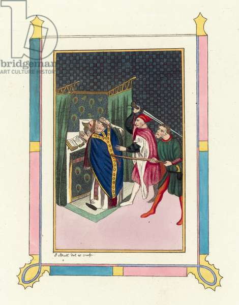Murder of Thomas Becket (coloured engraving)