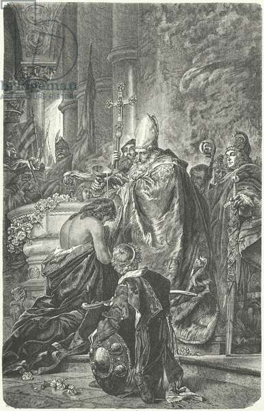 The baptism of Stephen I of Hungary (engraving)