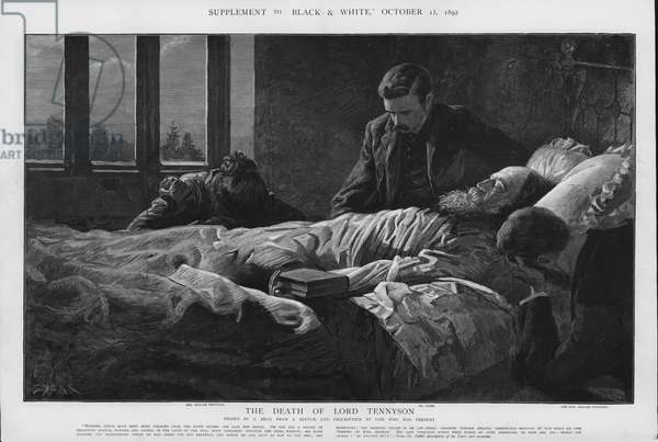The death of Alfred, Lord Tennyson, English Poet Laureate, 6 October 1892 (litho)
