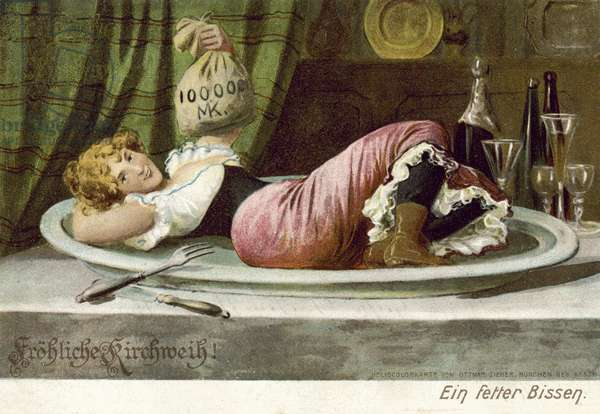 Girl lying seductively on a plate holding a bag of money (colour litho)