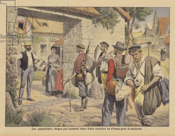 Belgian farm labourers looking for work in France during the harvest (colour litho)