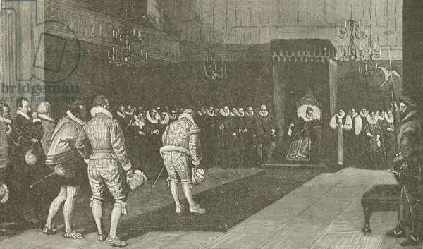 Queen Elizabeth receiving the French Ambassadors after St Bartholomew Massacre, from the painting by Wm F Yeames (engraving)