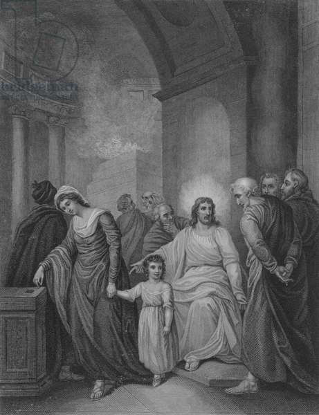 The Widow's Mite, St Mark 12, Verse 41-44 (engraving)