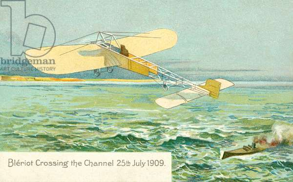 Louis Bleriot crossing the Channel, 25 July 1909 (colour litho)