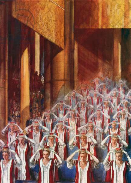 Peeresses donning their coronets, coronation of King George VI (colour litho)