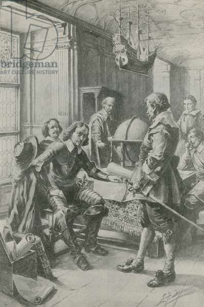 Robert Blake calls on Oliver Cromwell (litho)