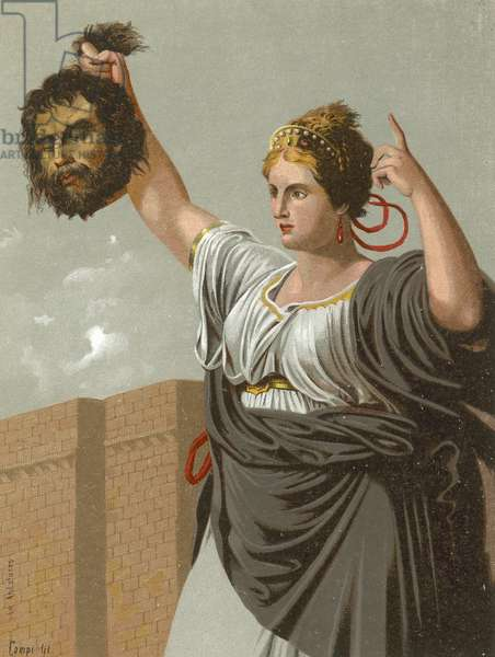 Judith with the head of Holofernes (chromolitho)