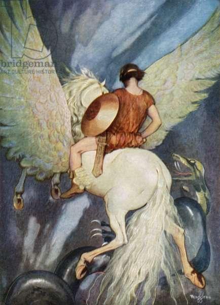 Bellerophon and Pegasus (colour litho)