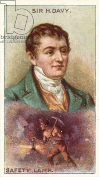 Sir Humphry Davy, Safety Lamp (colour litho)