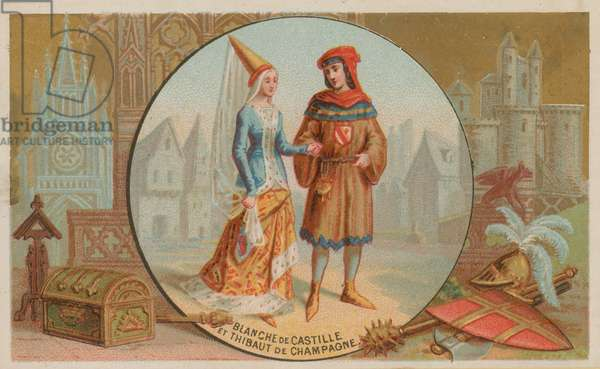 Blanche of Castille and Thibaut of Champagne (chromolitho)