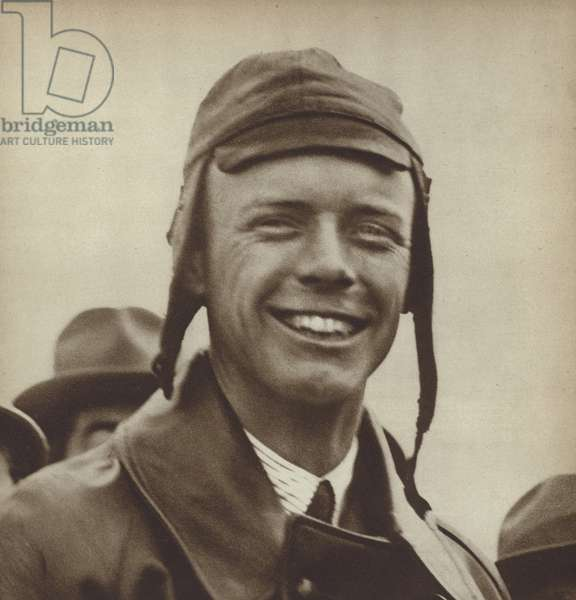 American aviator Charles Lindbergh, the first man to fly solo across the Atlantic, 1927 (b/w photo)