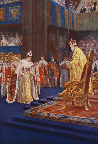Queen Alexandra bowing to King Edward VII on the way to her throne (colour litho)