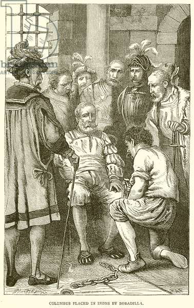 Columbus placed in Irons by Bobadilla (engraving)