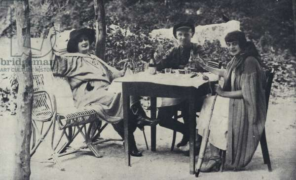 Snapshot taken of Isadora Duncan, Irma Duncan, and their Manager in Kislavodsk, August 1923 (b/w photo)