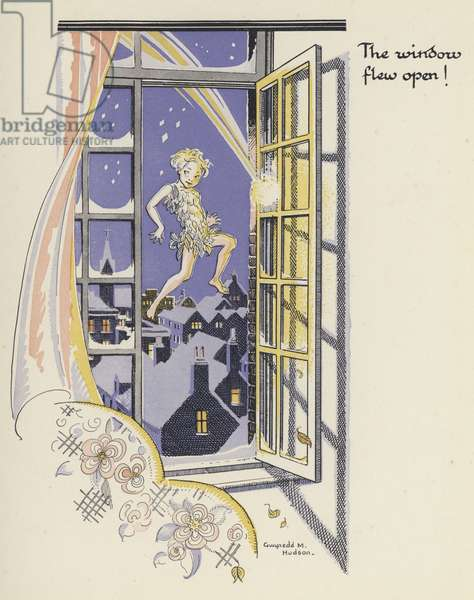 Peter Pan and Wendy: The window flew open! (colour litho)
