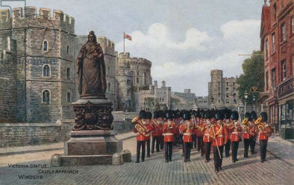 Victoria Statue, Castle Approach, Windsor (colour litho)